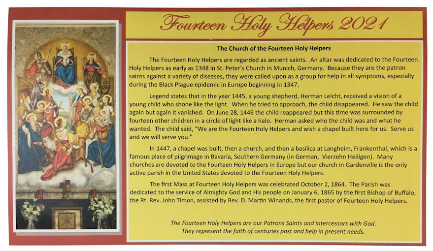 14 Holy Helpers 2021 Calendar cover